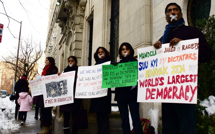 Protest in front of the Indian Consulate, NY