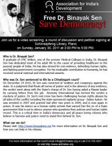 Free Dr Binayak Sen - Event in Plano, Texas, 30th January 2011