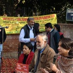 Sharmila Tagore, MK raina at Artists for Human rights protest in New Delhi