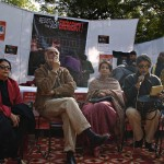 Aparna Sen speaks while Sharmila Tagore and MK Raina wait for their turn to speak at the artists protest in defence of Dr Binayak Sen